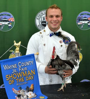 Andrew Pittman won Senior Showmanship and Poultry Showman of the Day at Monday's Junior Fair Poultry Show at the Wayne County Fair.