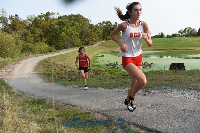 DCG's Megan Sterbenz runs on Monday, Sept. 14 at the Ballard Golf and Country Club in Huxley.