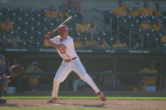 DCG's Jordan Sedivec up to the plate in the Class 3A state tournament opener against Benton Community July 28.