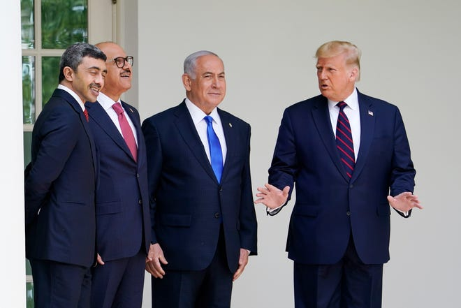 President Donald Trump appears at the Abraham Accords signing ceremony at the White House in September with Bahrain Foreign Minister Khalid bin Ahmed Al Khalifa,  left, United Arab Emirates Foreign Minister Abdullah bin Zayed al-Nahyan and Israeli Prime Minister Benjamin Netanyahu.