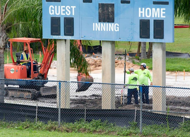 Tennis courts are being relocated between the softball and baseball fields in the southwest corner of Wellington Community High School in Wellington, September 14, 2020.