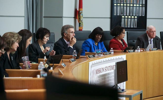 Palm Beach County School Board members at a meeting in March 2018.