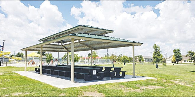 Ten new picnic tables have appeared near the Greensburg city swimming pool recently, made from recycled tires by Camplin Tire Recylcing in Concordia.