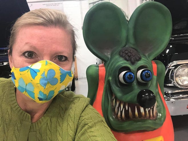 The Social Butterfly takes a selfie with a Rat Fink statue while touring the Keystone Truck and Tractor Museum in Colonial Heights on September 13, 2020.