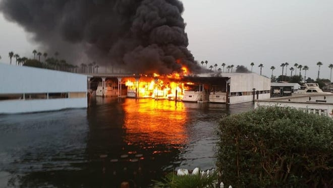Multiple boats and part of a dock caught fire Monday evening at Isleton's Oxbow Marina. No injuries to civilians or firefighters were reported.