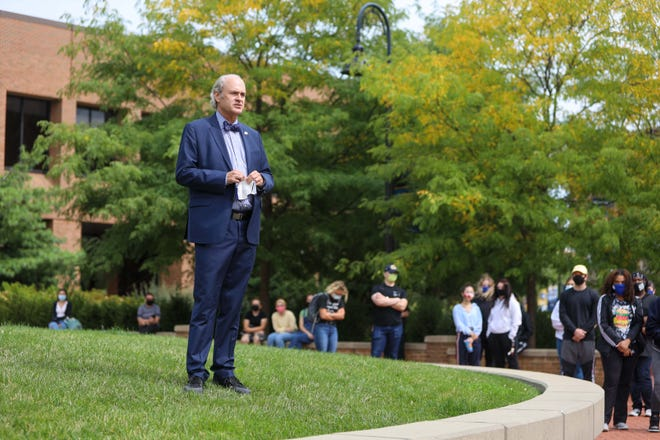Kent State University President Todd Diacon spoke to a crowd assembled a Risman Plaza this summer as part of a Black Lives Matter demonstration. Diacon announced this week that salaries will be restored to staff after cuts were made in July because of the COVID-19 pandemic.