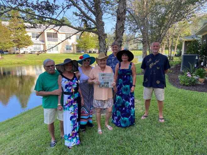 Enjoying the Derby: Good friends celebrating the Kentucky Derby included Nick and Pati Franklin, Sharon Bowers, Gayle Coyle, Fredrick Brown, Jacquelyn and Peter Barker.