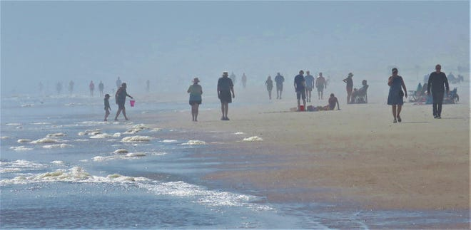 Impressionist like Georges Seurat scene on a hazy Sunday on St. Augustine Beach.