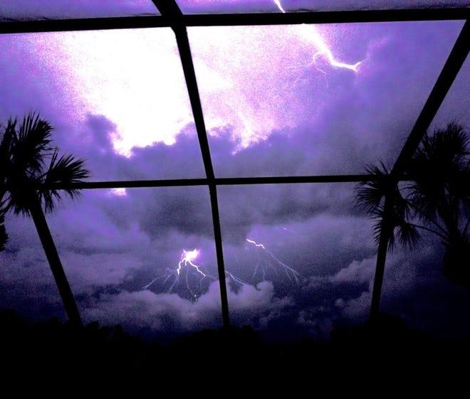 Lightning and thunderstorm.