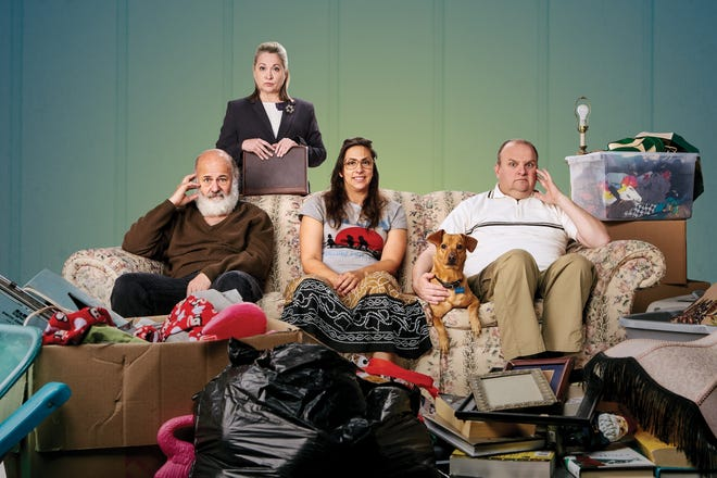 "From left, Allen Fitzpatrick, Teri Lazzara, Sara Oliva and Matthew McGee were set to star in the world premiere of Natalie Symons' comic drama ""The People Downstairs"" at American Stage when the coronavirus shut down theaters. The play is now scheduled to open in January."