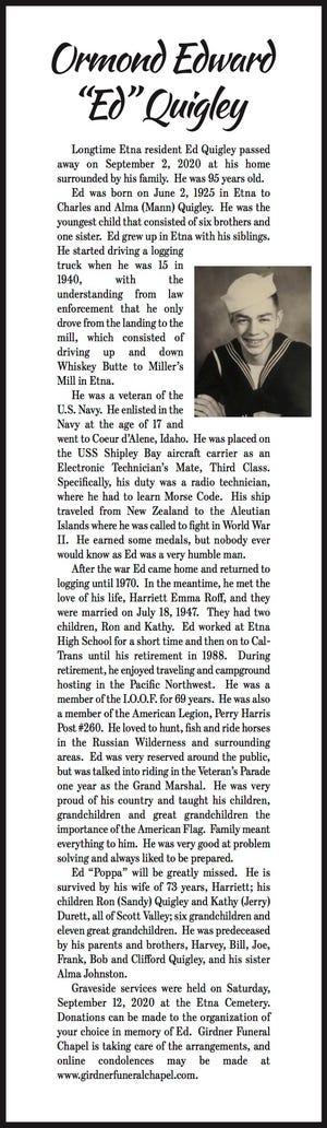 Obituary: 'Ed' Quigley