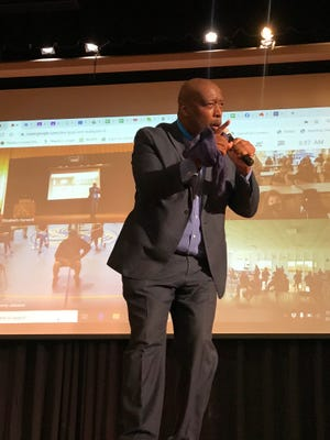 "Motivational speaker, C. L. King, recently spoke to the principals, teachers and staff of Pamlico County Schools to motivate faculty and staff into ""Thinkin Outside the Box"". [CONTRIBUTED PHOTO]"