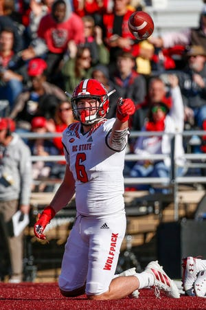 Tight end Cary Angeline led N.C. State in touchdown catches last season with five.