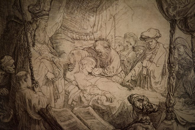 'The Death of the Virgin' is among the etchings featured in the Rembrandt exhibition.