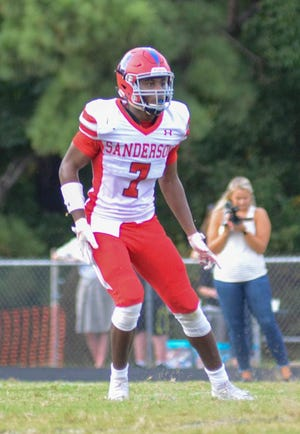 Raleigh Sanderson linebacker Jabril McNeill opted not to play with his older brother at N.C. State and instead chose Oregon as his college destination on Monday. (Photo courtesy of Sanderson High football)