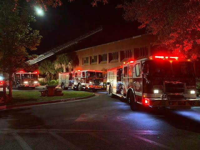 Gainesville Fire Rescue crews respond to a fire at Norman Hall on the University of Florida campus Monday night. [Gainesville Fire Rescue]