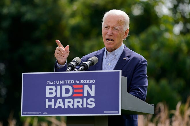 Democratic presidential candidate and former Vice President Joe Biden speaks about climate change and wildfires affecting western states on Monday in Wilmington, Del. [AP Photo/Patrick Semansky]