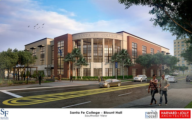 This is an artist rendering of the new Santa Fe College Downtown Campus that's under construction and expected to be completed by Spring 2022.