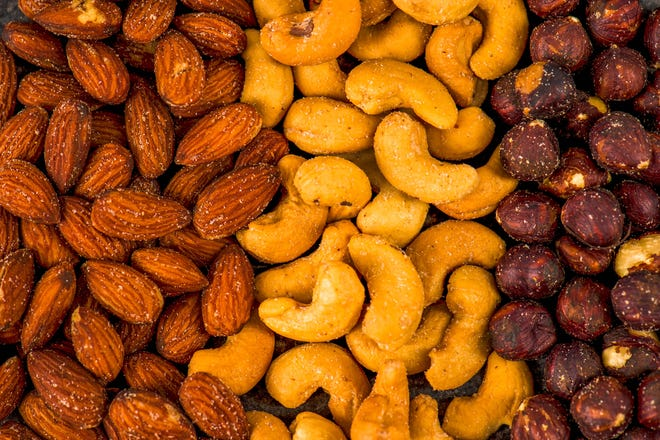 Nuts are rich in healthy monounsaturated fats, but a word of caution: They are high in calories.