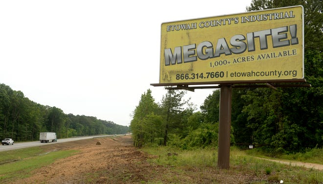 This sign advertises the Etowah County Megasite property adjacent to Interstate 59 near Attalla.
