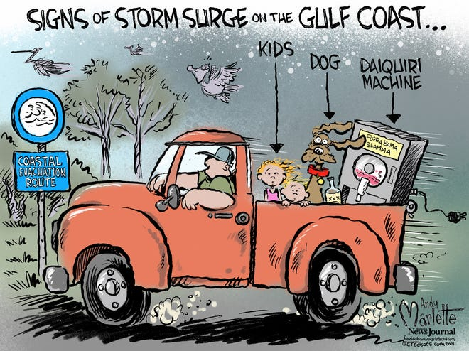 Editorial Cartoon: Signs of a Gulf Coast storm surge