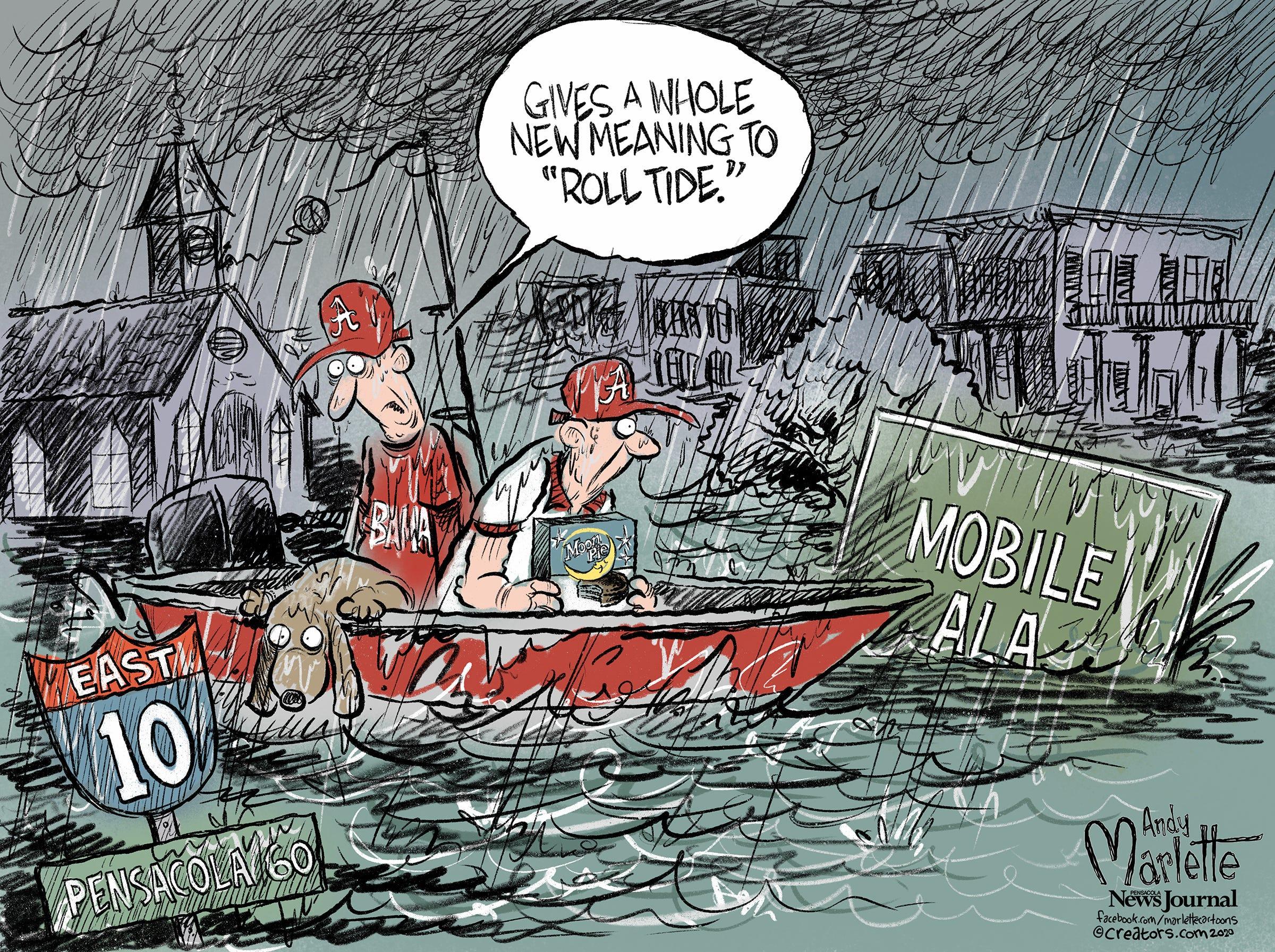Editorial Cartoon Roll Tide Has New Meanings In Hurricane Season