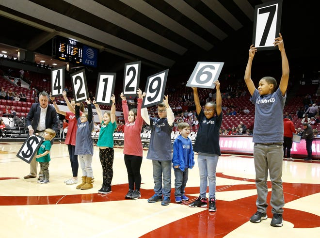 Children lift up numbers as they help announce that the United Way exceeded their fund-raising campaign goal of $4.2 million during the pregame show in Coleman Coliseum Wednesday, Jan. 8, 2019 in the SEC home opener for the Crimson Tide. [Staff Photo/Gary Cosby Jr.]