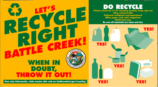 Battle Creek will send out 12,000 postcards later this week with information about how to properly recycle.