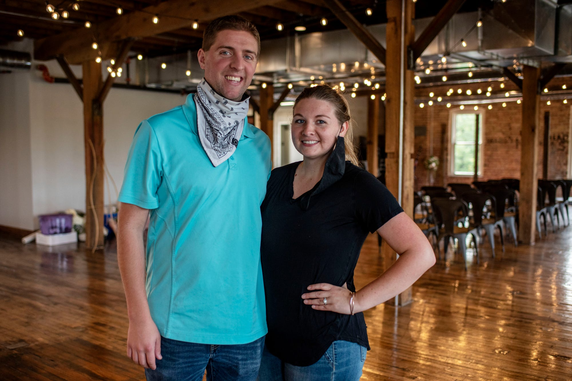 Cody and Caitlynn Newman, owners of Restore 269 and The Record Box, pose for a portrait on Tuesday, Sept. 15, 2020 at Record Box Loft in Battle Creek, Mich. Sprout is partnering with Restore 269 to open a downtown market and deli in Battle Creek.