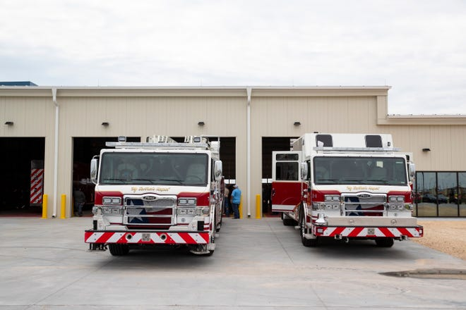 Two new fire trucks site outside Gulf Coast Growth Ventures fire station near Gregory before a push-in ceremony on Tuesday, Sept. 15, 2020.