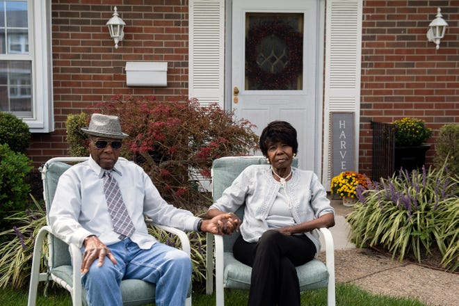 Nelson Martin, 95, left, and Gertie Martin, 92, at their Willingboro home on Monday, Sept. 14, 2020.