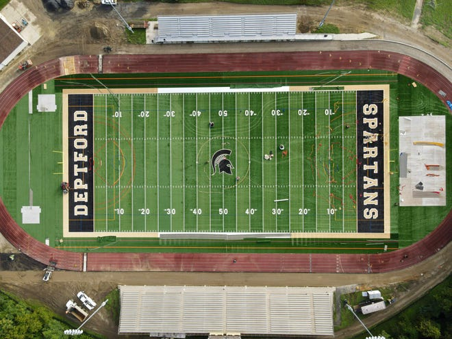 The $2 million reconstruction project at Deptford High School's Joe Corbi & Jim Hawkins Spartan Stadium is just about done, but the football team will likely have to play all of its games on the road this fall.