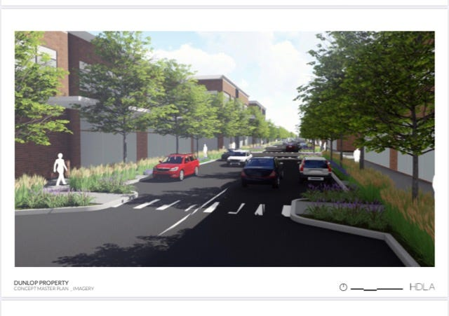 Artist rendering of a preliminary concept master plan for the Dunlop Lane property where a hotel and conference center and office park are planned