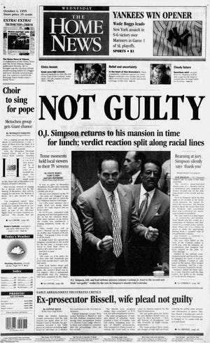 "The ""not guilty"" verdict in the O.J. Simpson trial featured on the front page of the Wednesday, Oct. 4, 1995 edition of The Home News."