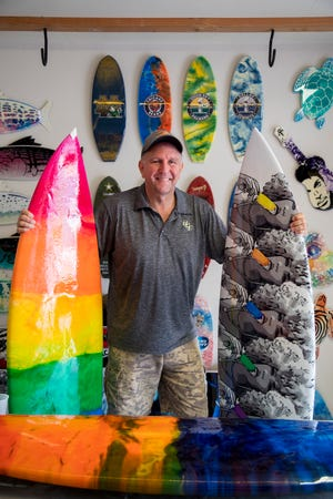 Tony Adams is a Cape artist who transforms surfboards into art.