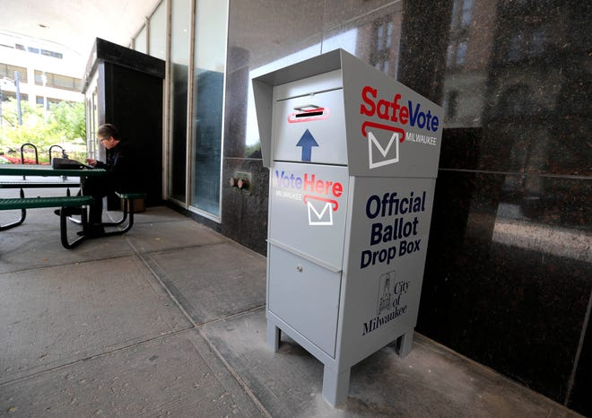 The Milwaukee area has several locations to drop off ballots, including this box at City Hall. Ballot drop boxes will be available 24 hours a day seven days a week.