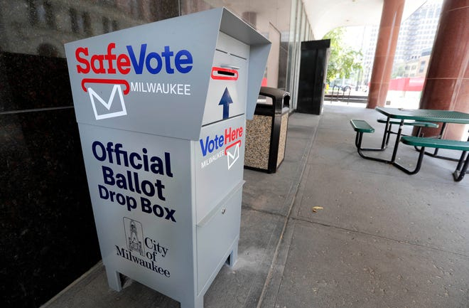Milwaukee has several locations to drop off absentee ballots, including this box at City Hall.