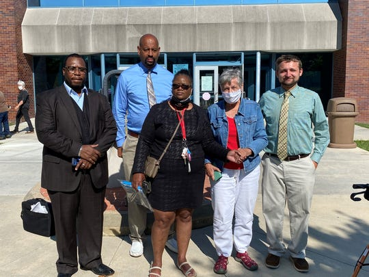 Left to right: Members of Freedom First International; Gregg L. Greer, Steve Smith, Monica James, Juanita Suro and Greg Elicessor, after starting their anti-eviction campaign on Aug. 31 at the Delaware County Justice Center.