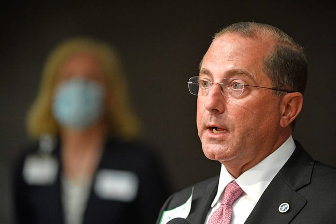 Health and Human Services Secretary Alex Azar answers questions after touring Vanderbilt research in Nashville, Tenn. Tuesday, Sept. 15, 2020,