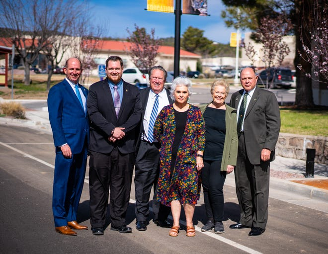 Western New Mexico University President Dr. Joseph Shepard, pictured far left, stands with members of the WNMU board of regents, including (left to right) former Student Regent Tim Stillman, Chair Jerry Walz, new Board Secretary/Treasurer Janice Baca-Argabright, Vice Chair Dr. Mary Hotvedt, and member Dr. Carl Foster.