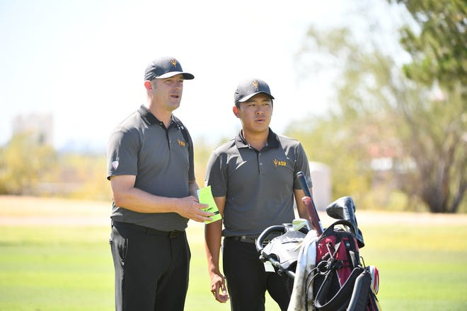 Arizona State men's golf coach Matt Thurmond, left, and Chun An Yu open the 2021 season with the Sun Devils ranked No. 1 nationally by Golf Channel.