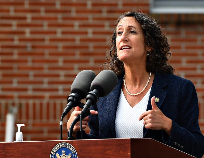 Secretary of the Commonwealth Kathy Boockvar speaks during a  press conference held by Gov. Tom Wolf at York Grace Brethren Church in York City, Tuesday, Sept. 15, 2020. Dawn J. Sagert photo