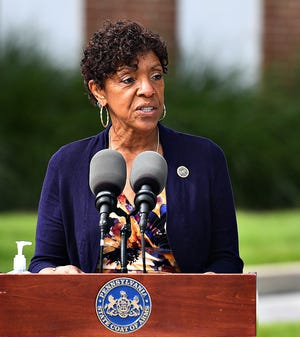 State Rep. Carol Hill-Evans, D-York City, speaks during a  press conference held by Gov. Tom Wolf at York Grace Brethren Church in York City, Tuesday, Sept. 15, 2020. Dawn J. Sagert photo