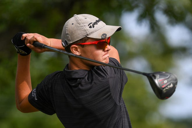 Dallastown's Lane Krosse, seen here in a file photo, shot a 74 in the York-Adams Division I golf opener at Royal Manchester Golf Links.