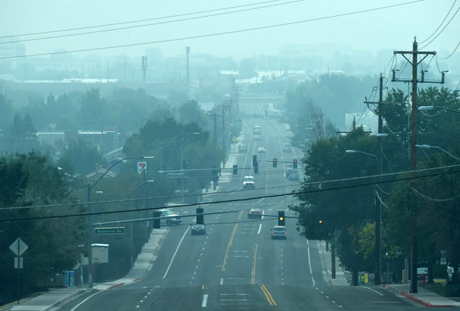 Smoke from the California wildfires can be seen from the top of Sutro Street in Reno on Tuesday Sept. 15, 2020