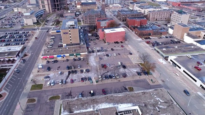 An aerial view of 301 North Main Avenue, a parking lot put up for sale by the city of Sioux Falls