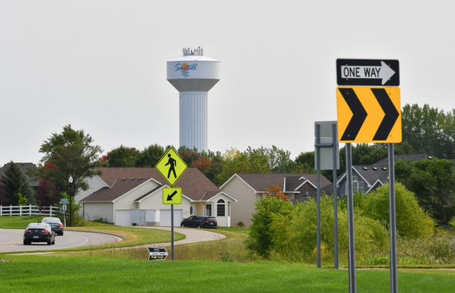 An area east of the roundabout at Heritage Drive, Fourth Avenue, Leander Avenue and Roberts Road is pictured Tuesday, Sept. 15, 2020, in Sartell.