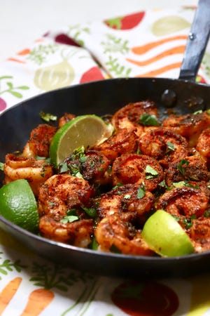 Fresh shrimp are coated with a spicy blackening seasoning blend and pan-seared in butter until they are tender and juicy.