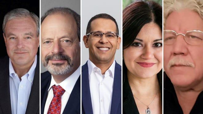 """Incumbent El Paso Mayor Dee Margo, left, faces challengers Oscar Leeser, Carlos Gallinar, Verónica Carbajal, Dean """"Dino"""" Martinez and Calvin Zielsdorf, who did not provide a photo."""