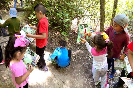 Children participate in a Hide and Seek activity on a Kids in Parks trail.